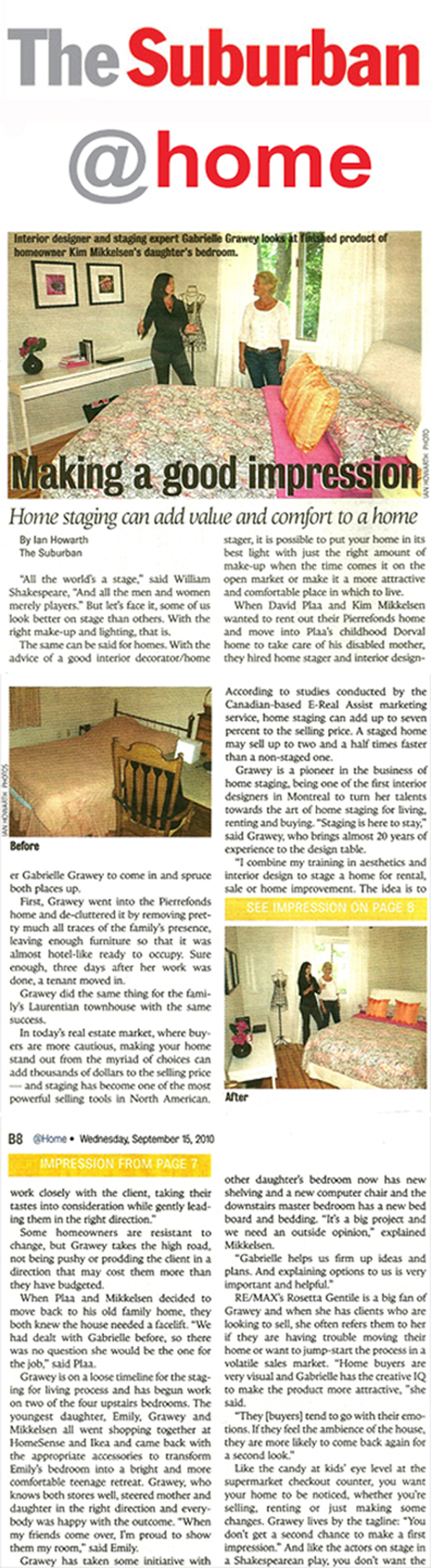 Home Staging Newspaper Article